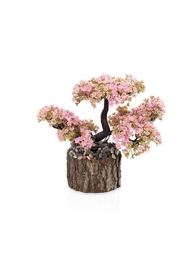 Çiçekmisin Taşlı Kütükte Minyatür Yapay Ağaç Pembe